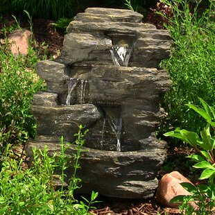 Vargas Polystone Rock Falls Outdoor Waterfall Fountain With Led Light