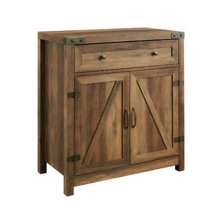 Accent Side Cabinet USIKEY Floor Storage Cabinet Rustic Brown Wooden Sideboard Storage Organizer for Bedroom Home Office Free Standing Cupboard with 1 Drawer 2 Doors 3 Shelves and 4 Legs