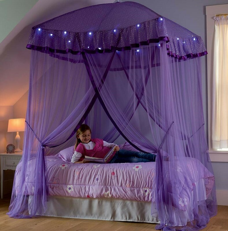 Sparkling Lights Bed Canopy & HearthSong Sparkling Lights Bed Canopy u0026 Reviews | Wayfair