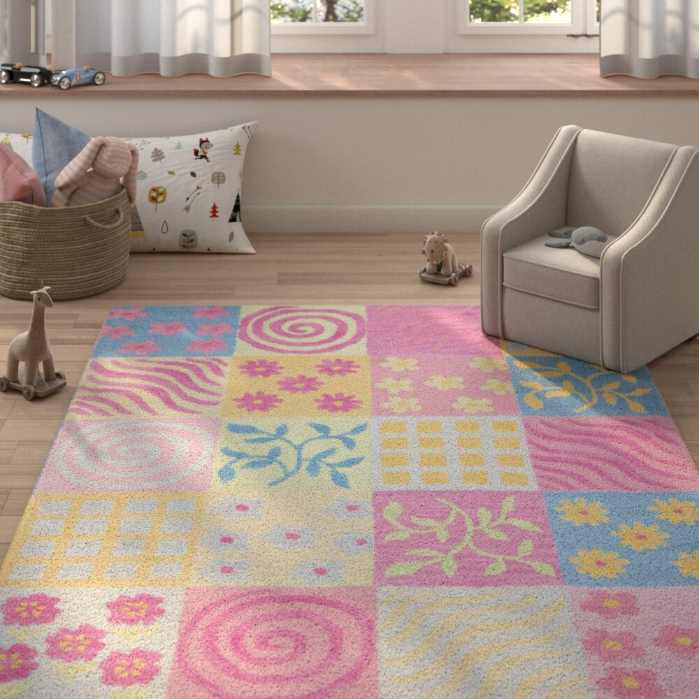 Harriet Bee Claro Floral Handmade Tufted Yellow Pink Blue Gray Green Area Rug Reviews Wayfair