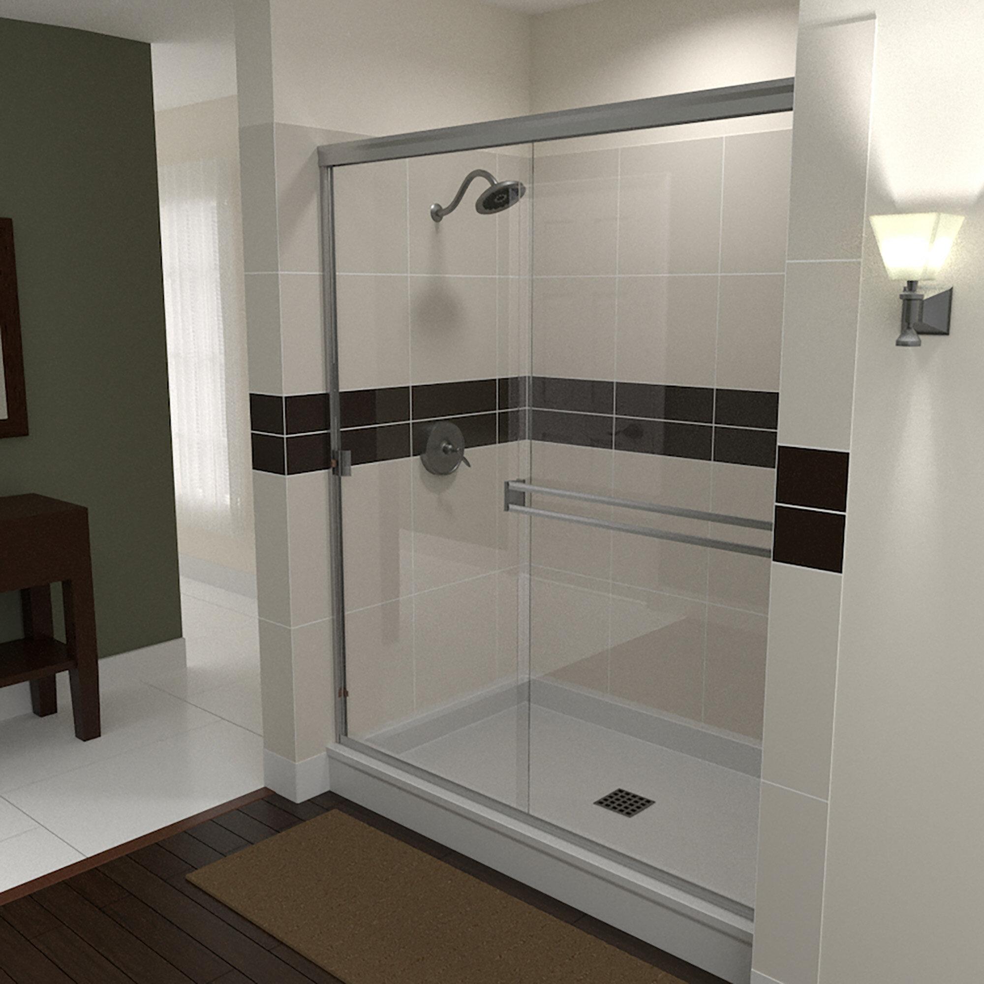 61 X 67 Bypass Semi Frameless Shower Door