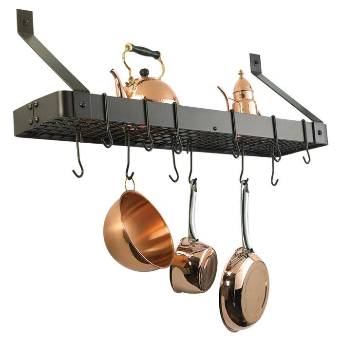 Wall Hanging Pot Rack old dutch wall mounted pot rack with grid & reviews | wayfair