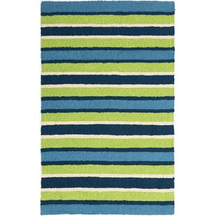 Carvell South Bay Hand-Hooked Lime Green/Blue Indoor/Outdoor Area Rug byHighland Dunes