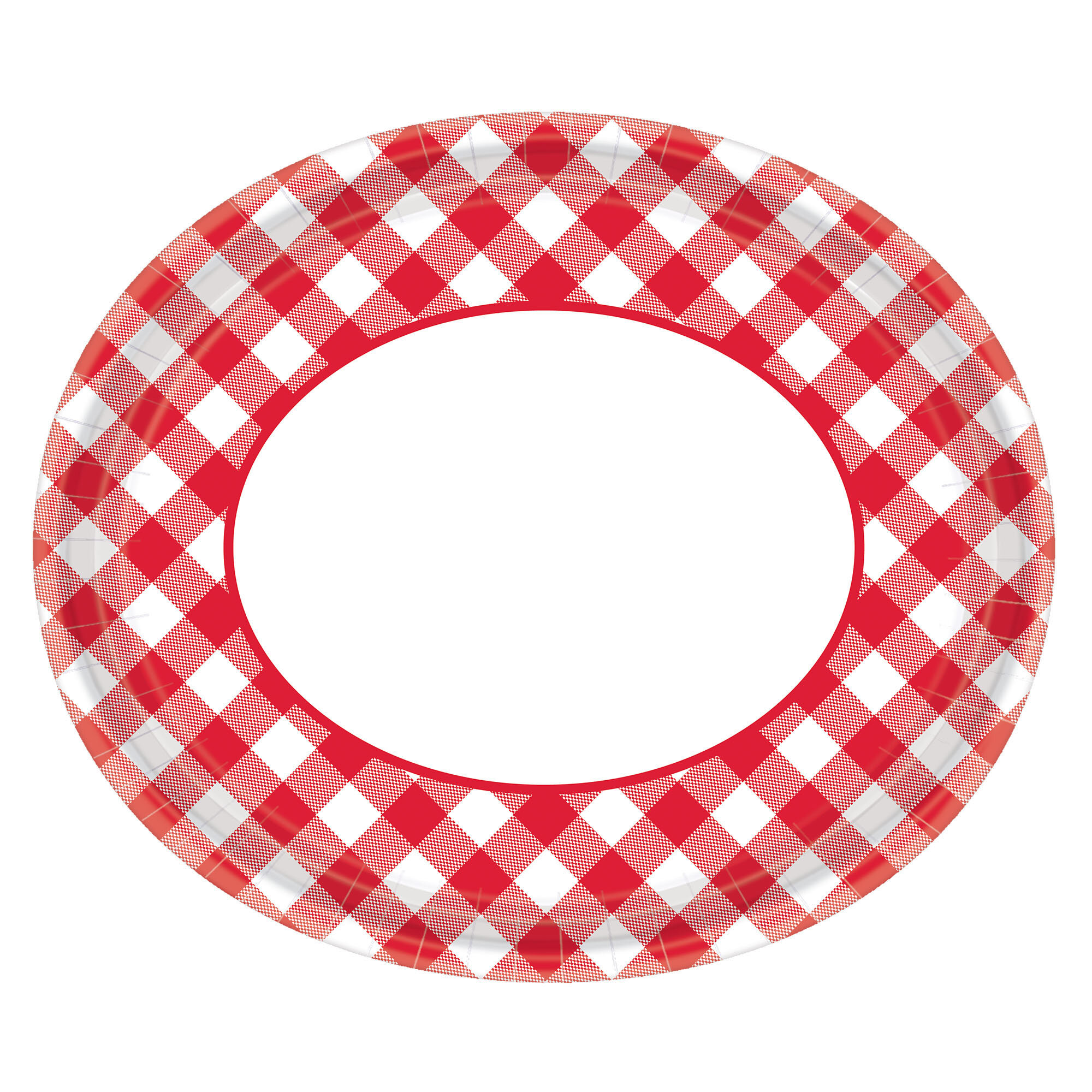 Summer Picnic Gingham Oval Paper Plate