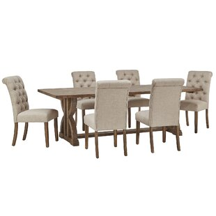 Adrik Salvaged Reclaimed Wood Trestle 7 Piece Dining Set