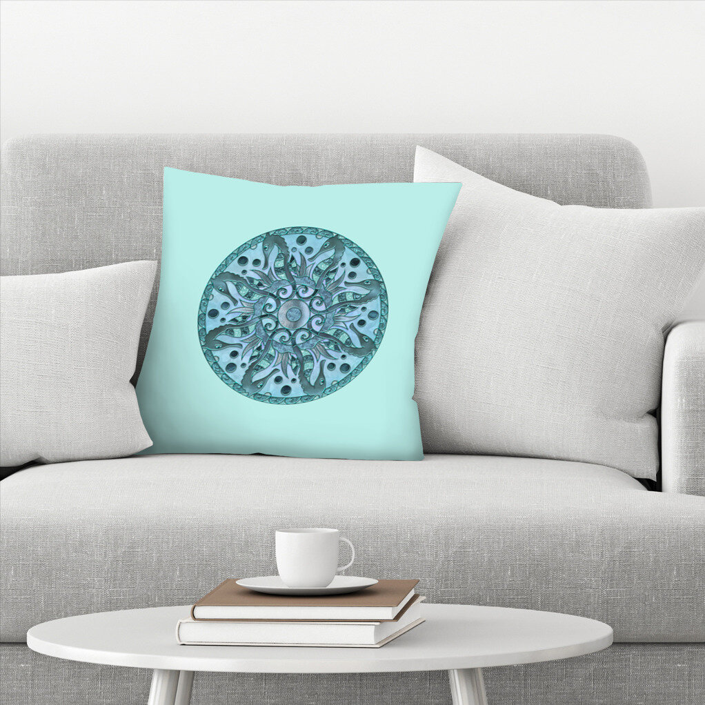 East Urban Home Lebens Art Sea Horse Mandala Throw Pillow Wayfair