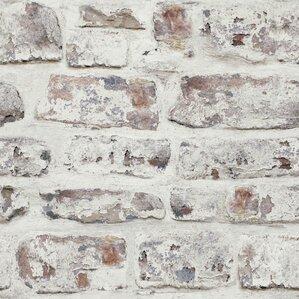 Whitewashed Wall White 33 5 X 22 Brick Wallpaper