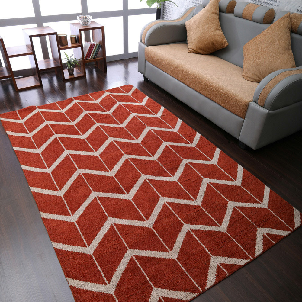 Ebern Designs Seamons Chevron Hand Knotted Wool Cotton Red Area Rug Wayfair