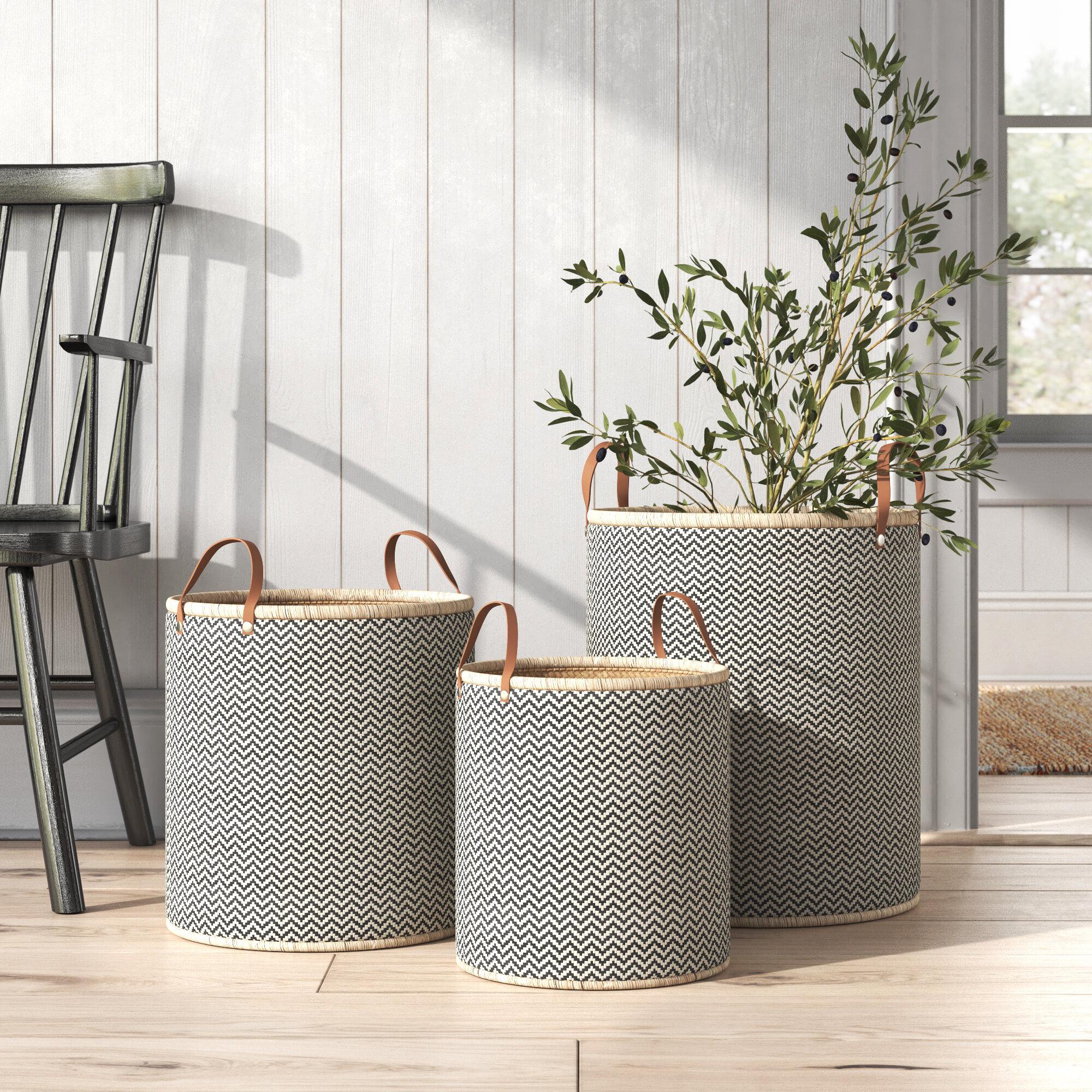 Laundry Palm Leaf 3 Piece Wicker Basket Set Reviews Birch Lane
