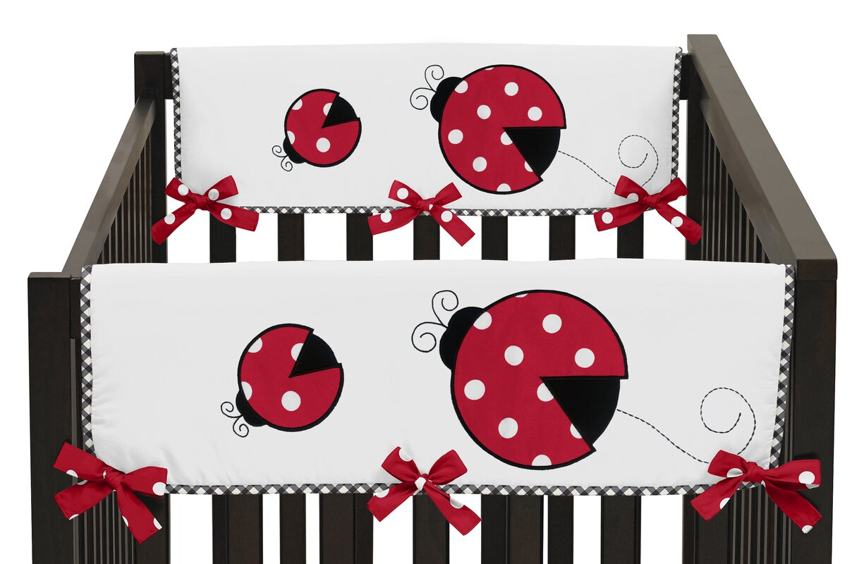 Polka Dot Ladybug Side Crib Rail Guard Cover