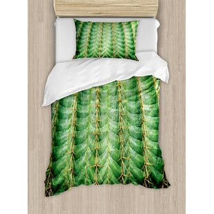 Cactus Photo with Spikes Plant Flower Fruit from Close Zoom Shoot with Spikes Duvet Set by Ambesonne