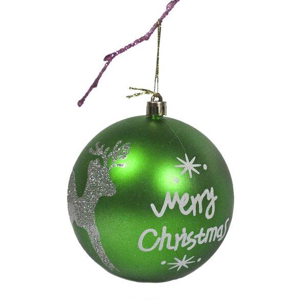 The Holiday Aisle 3 9 Handpainted Merry Chrismas And Deer Ball Ornament Wayfair