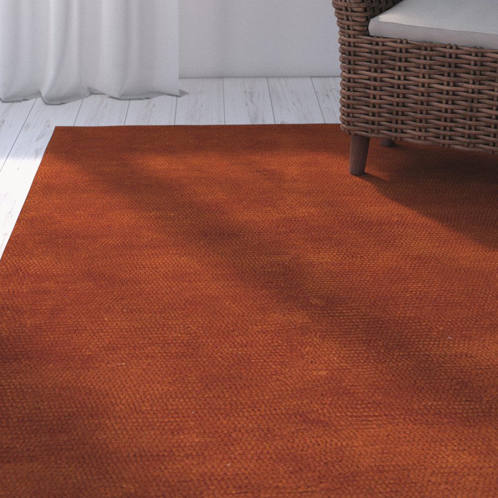 Red Barrel Studio Tully Handwoven Wool Rust Red Area Rug Wayfair