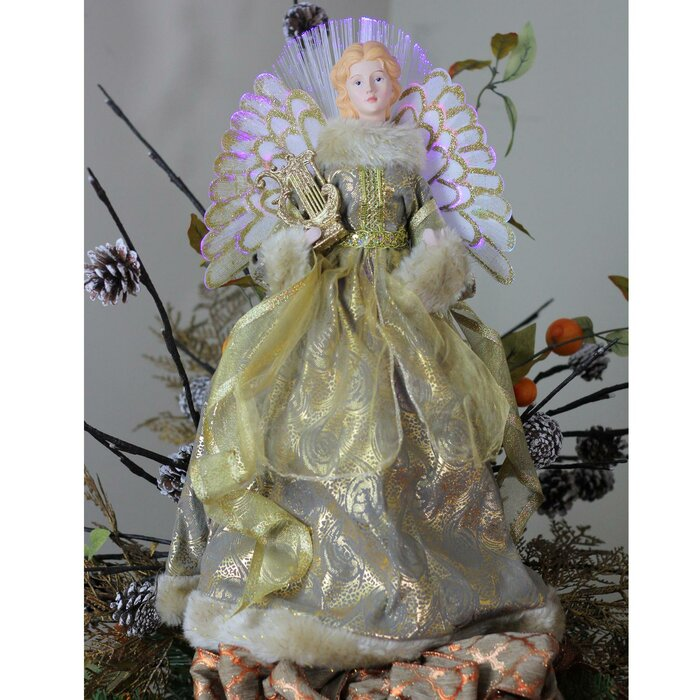Angel Christmas Tree Topper.Angel Christmas Tree Topper In Metallic Gown
