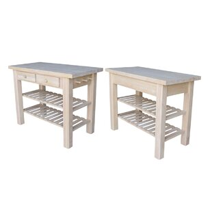 Kailee Kitchen Island with Butcher Block Top