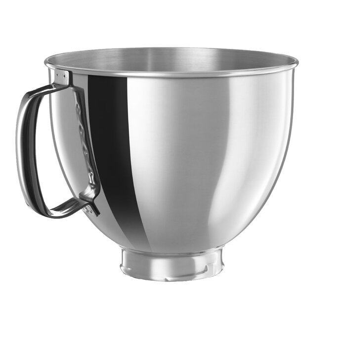 KitchenAid 5 Qt. Polished Stainless Steel Bowl with Handle for KitchenAid  Tilt-Head Stand Mixers