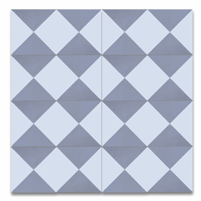 "Jadida 8"" x 8"" Cement Patterned Tile in White/Gray"