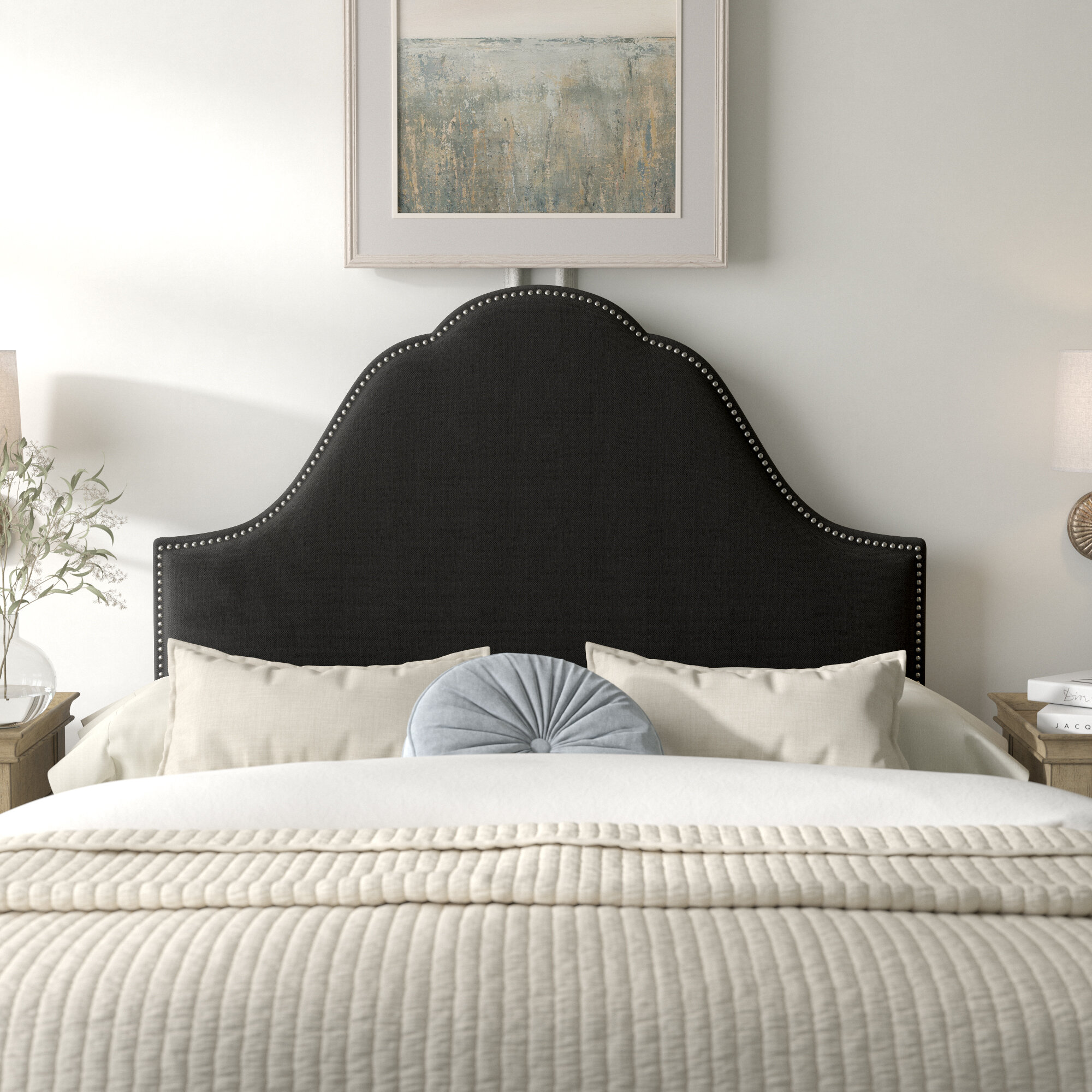 Kelly Clarkson Home Arpeggio Nail Button Arch Upholstered Panel Headboard Reviews Wayfair