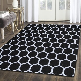 Compare prices Dewar Rectangle Hand-Tufted Black/White Area Rug By Brayden Studio
