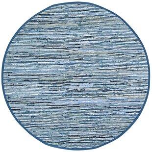 Sandford Flatweave Cotton Blue/White Area Rug by Latitude Run
