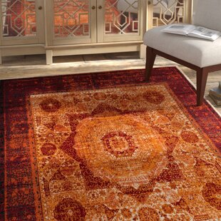 Yareli Orange/Red Area Rug By Bungalow Rose