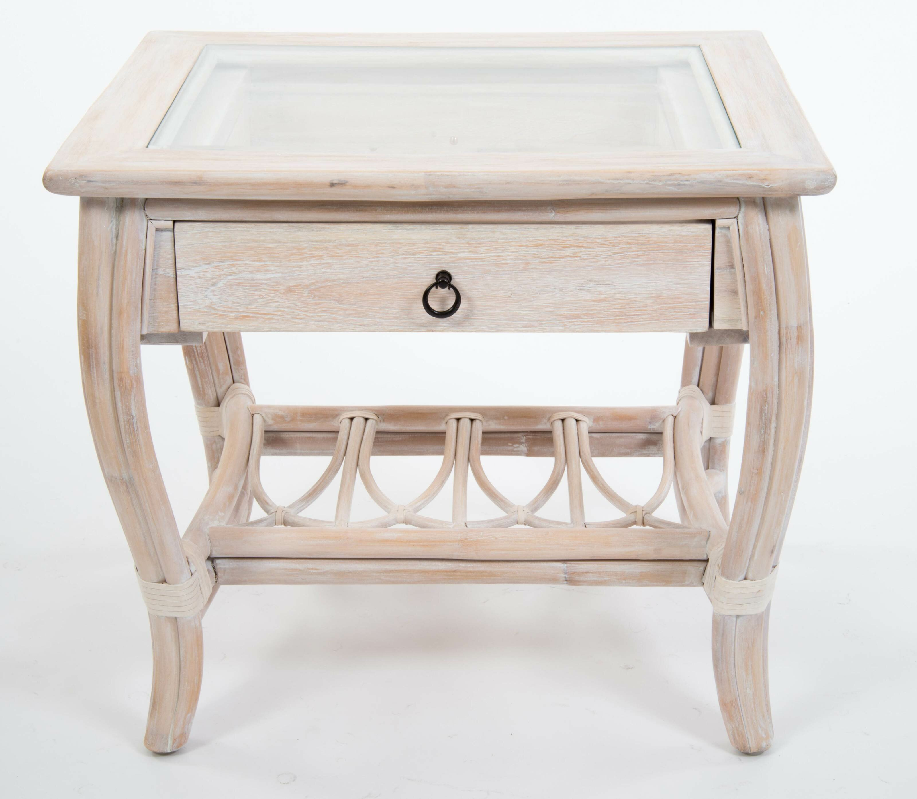 Bay Isle Home Presley Glass Top End Table With Drawer Wayfair