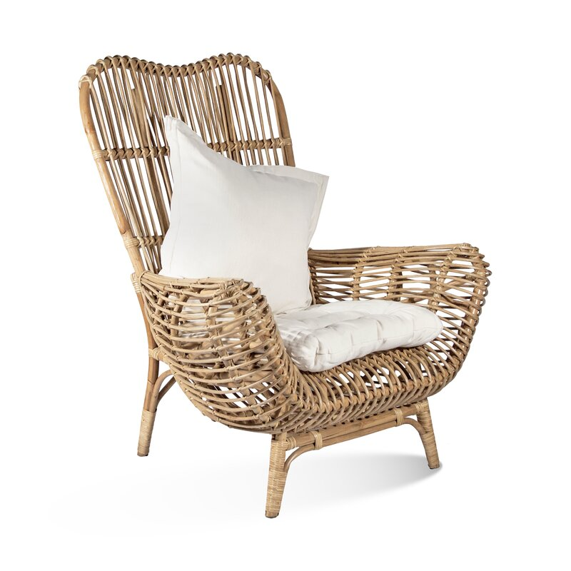 Ibolili Round Back Rattan Patio Chair
