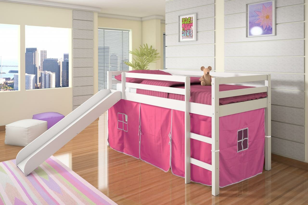 Harriet Bee Ogden Tent Twin Low Loft Bed With Slide Reviews Wayfair