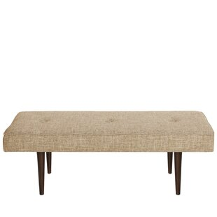 Foweler Tufted Woven Linen Upholstered Bench by Brayden Studio
