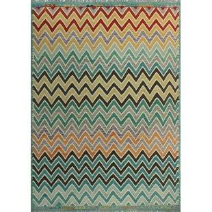 Dickie Handwoven Wool Blue/Black Area Rug ByBloomsbury Market