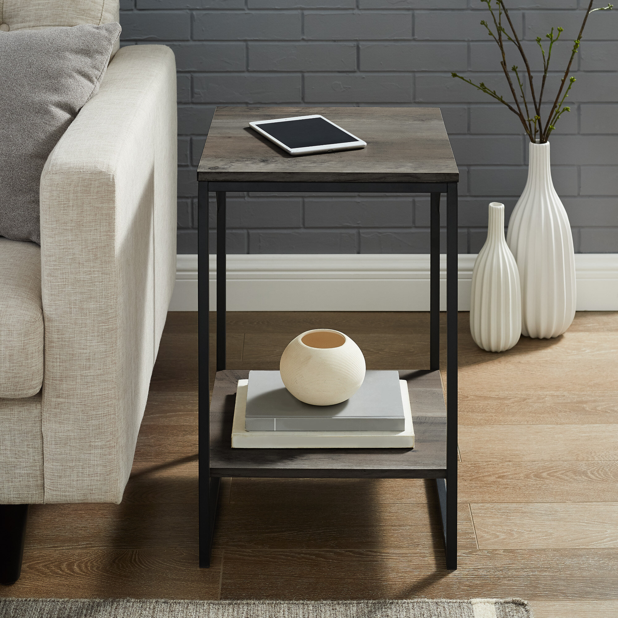 17 Stories Zimmerman Sled End Table With Storage Reviews Wayfair