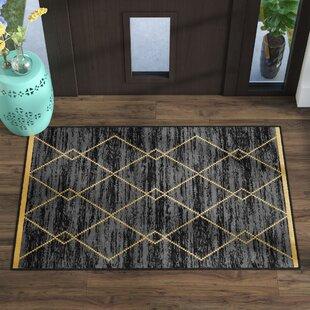 Price Check Vathylakas Diamond Trellis Black/Yellow Area Rugs ByBeachcrest Home
