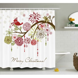 Christmas Red Bird Floral Tree Shower Curtain + Hooks