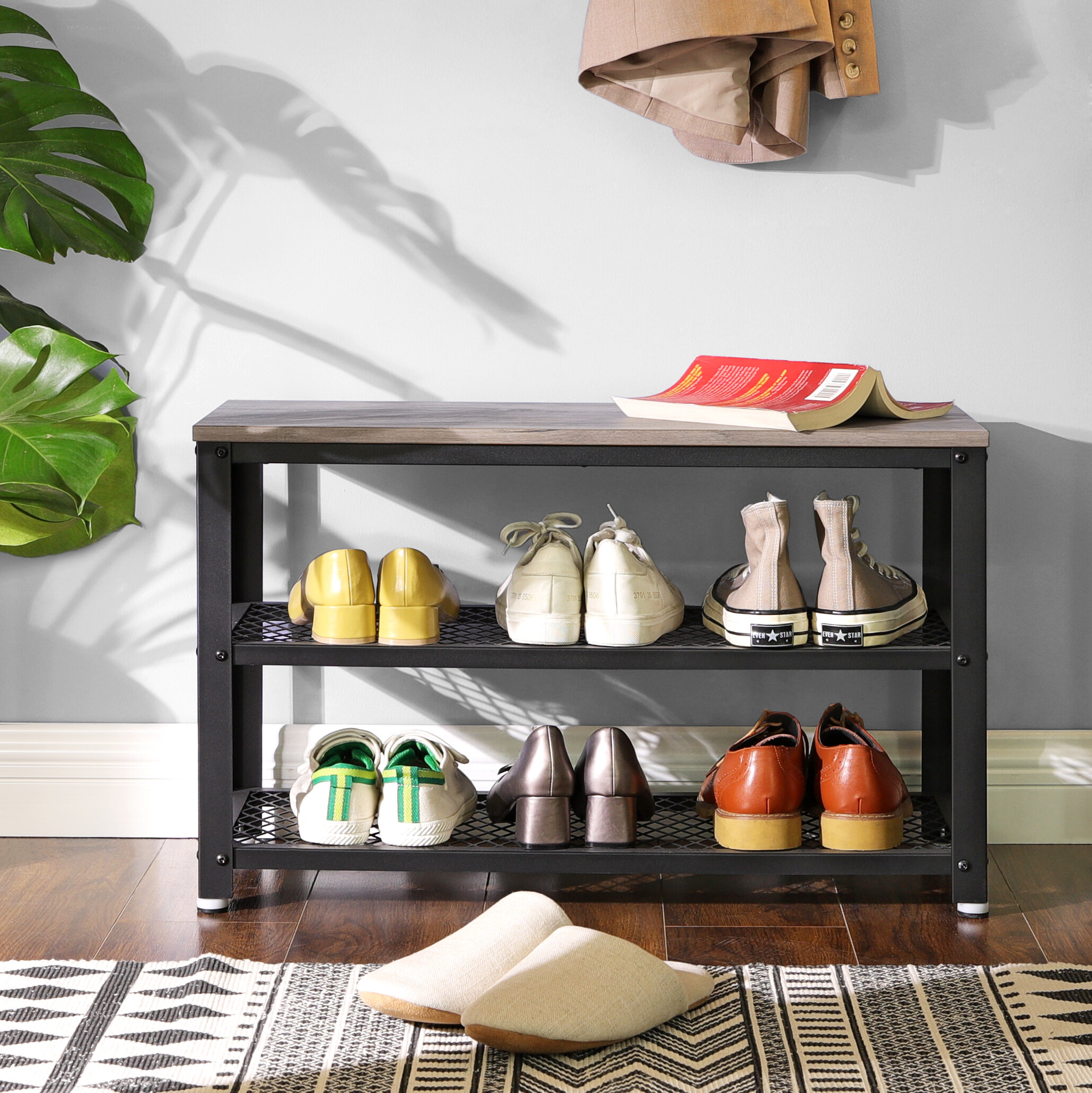 Picture of: New Metal Shoe Bench Entryway Organizer Storage Rack Cushion Black Chrome Bed
