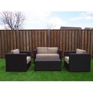 4-Sitzer Sofa-Set Landry aus Rattan mit Polster von Kampen Living