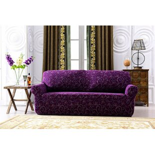 Spandex Stretch Printed Box Cushion Loveseat Slipcover by House of Hampton