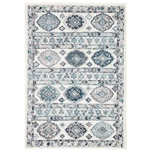 Avah Geometric Teal/White Area Rug By Bungalow Rose