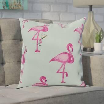 Bay Isle Home Wirtz Flamingo Friends Outdoor Throw Pillow Reviews Wayfair