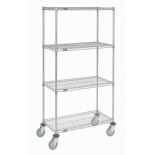 Wire Shelf Stem Caster Truck 4 Shelf Shelving Unit