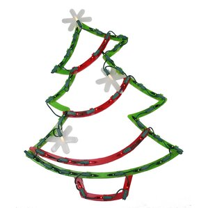 lighted christmas tree with star ornaments window silhouette decoration - Lighted Christmas Ornaments