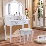 Edgware Makeup Vanity Set with Stool and Mirror by One Allium Way®