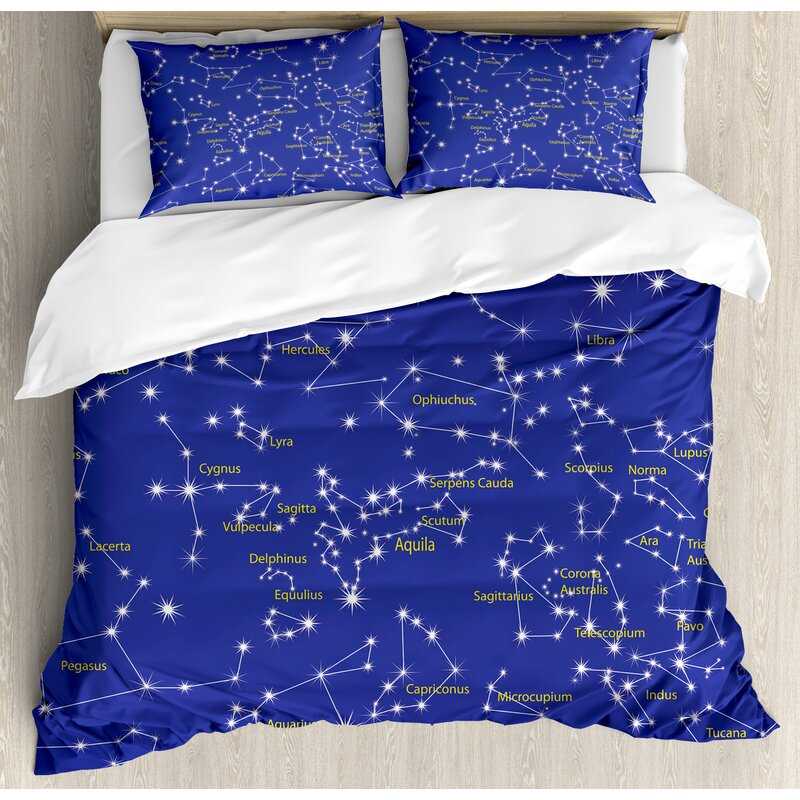 Constellation Astronomy Science Names Of Stars Zodiac Signs Night Sky Duvet Cover Set