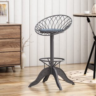 Reviews Grimmer Adjustable Height Swivel Bar Stool by Williston Forge