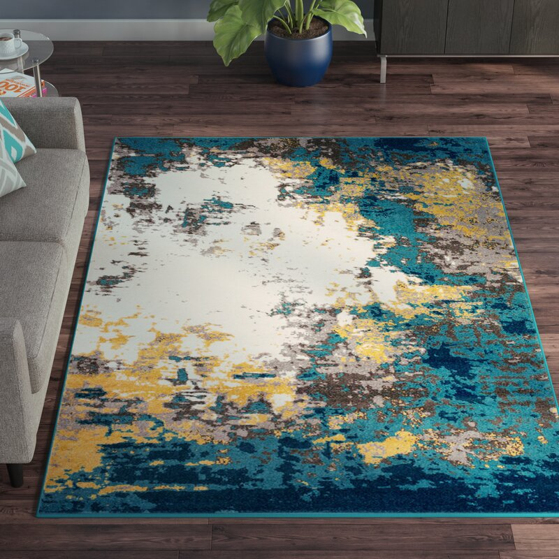 Wayfair All Modern: Wrought Studio Shuff Blue/Yellow Area Rug & Reviews