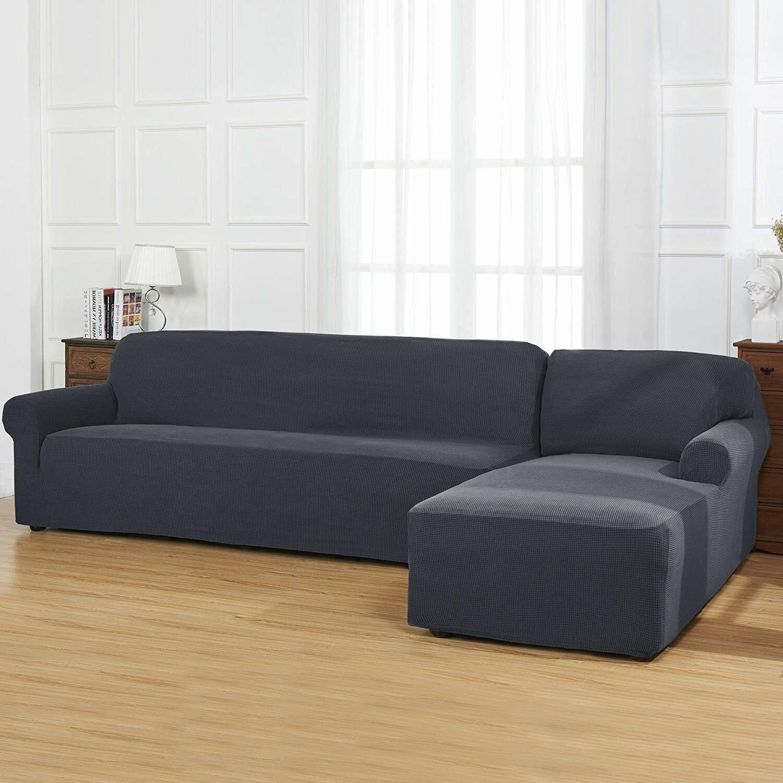 L-Shaped Jacquard Stretch Box Cushion 2 Piece Sofa and Chaise Lounge  Slipcover Set