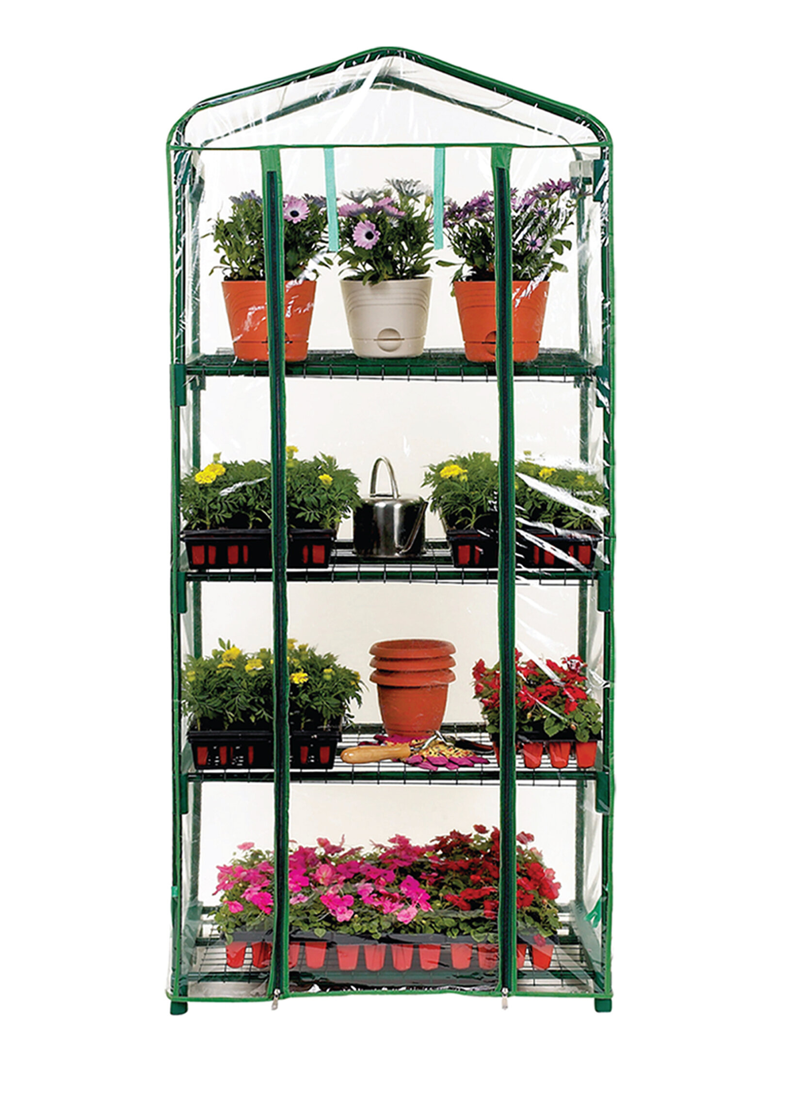 New 4 Tier Greenhouse Portable Four Shelf Roll Up Front Panel With PVC Cover