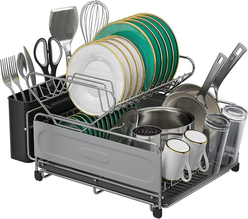 Kitchen Dish Drying Rack, 2 Tier Dish Drainer Rack 304 Stainless Steel Dish Rack And Drainboard Set With Utensil/Cup Holder For Kitchen Counter