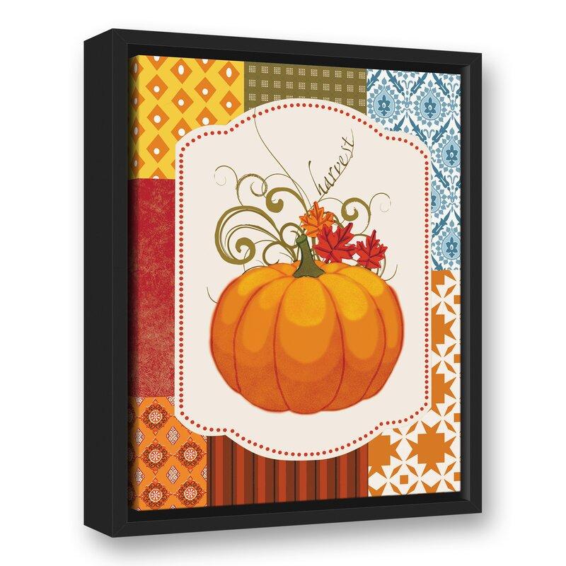 Patchwork Wall Decorations - 'Harvest Patchwork Pumpkin' Graphic Art Print