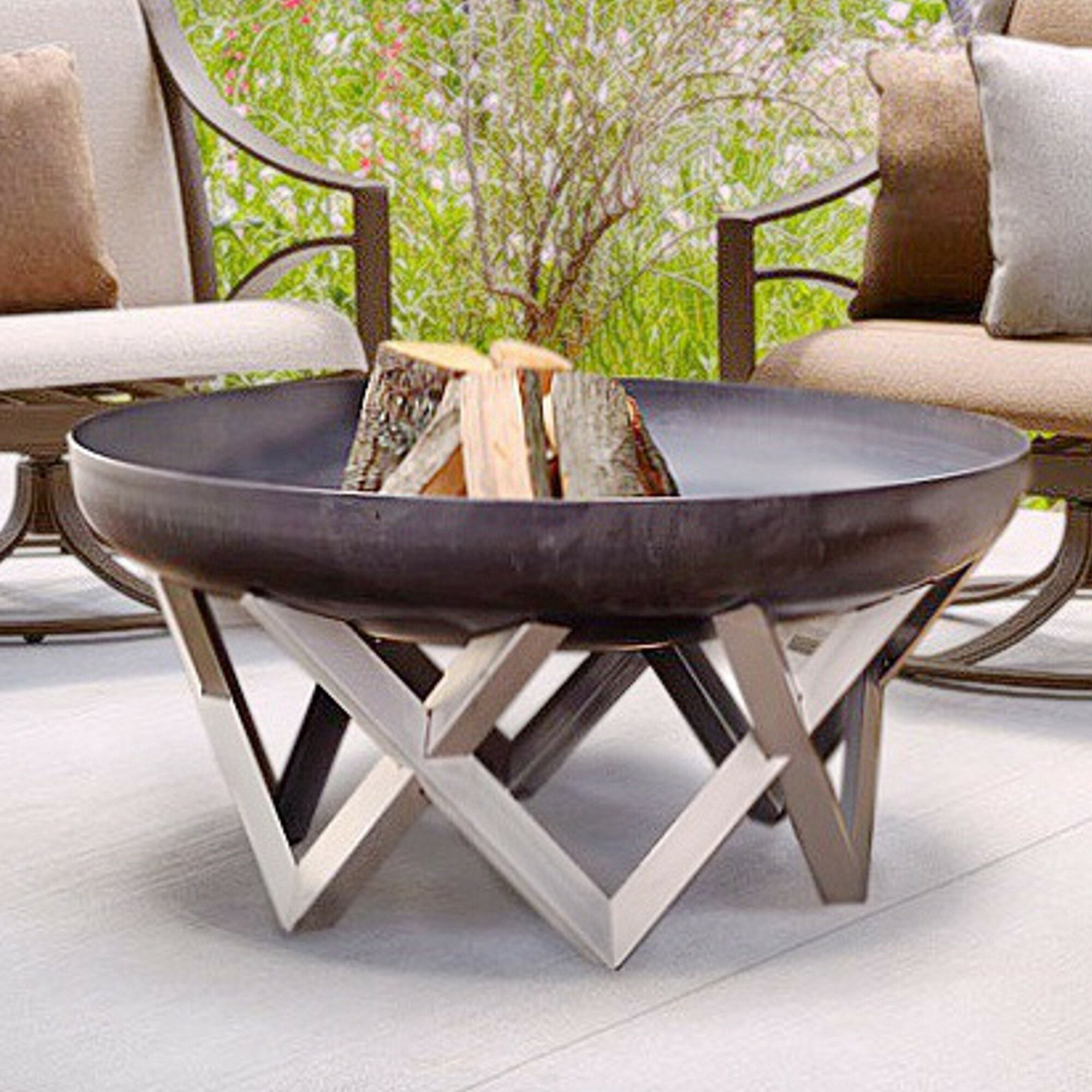 Image of: Wrought Studio Corsica Stainless Steel Wood Burning Fire Pit Wayfair