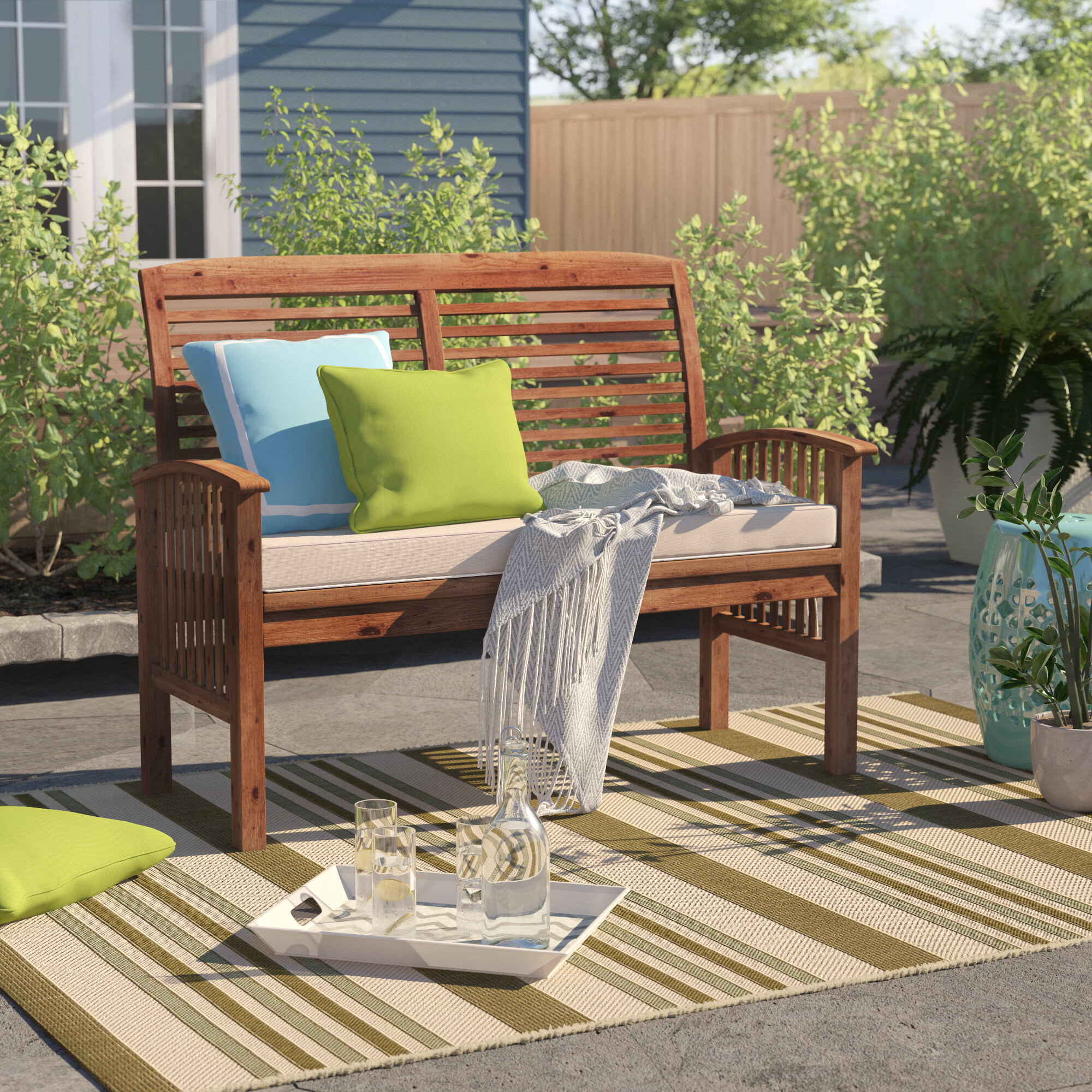 Sol 72 outdoor redhill patio loveseat with cushion reviews wayfair